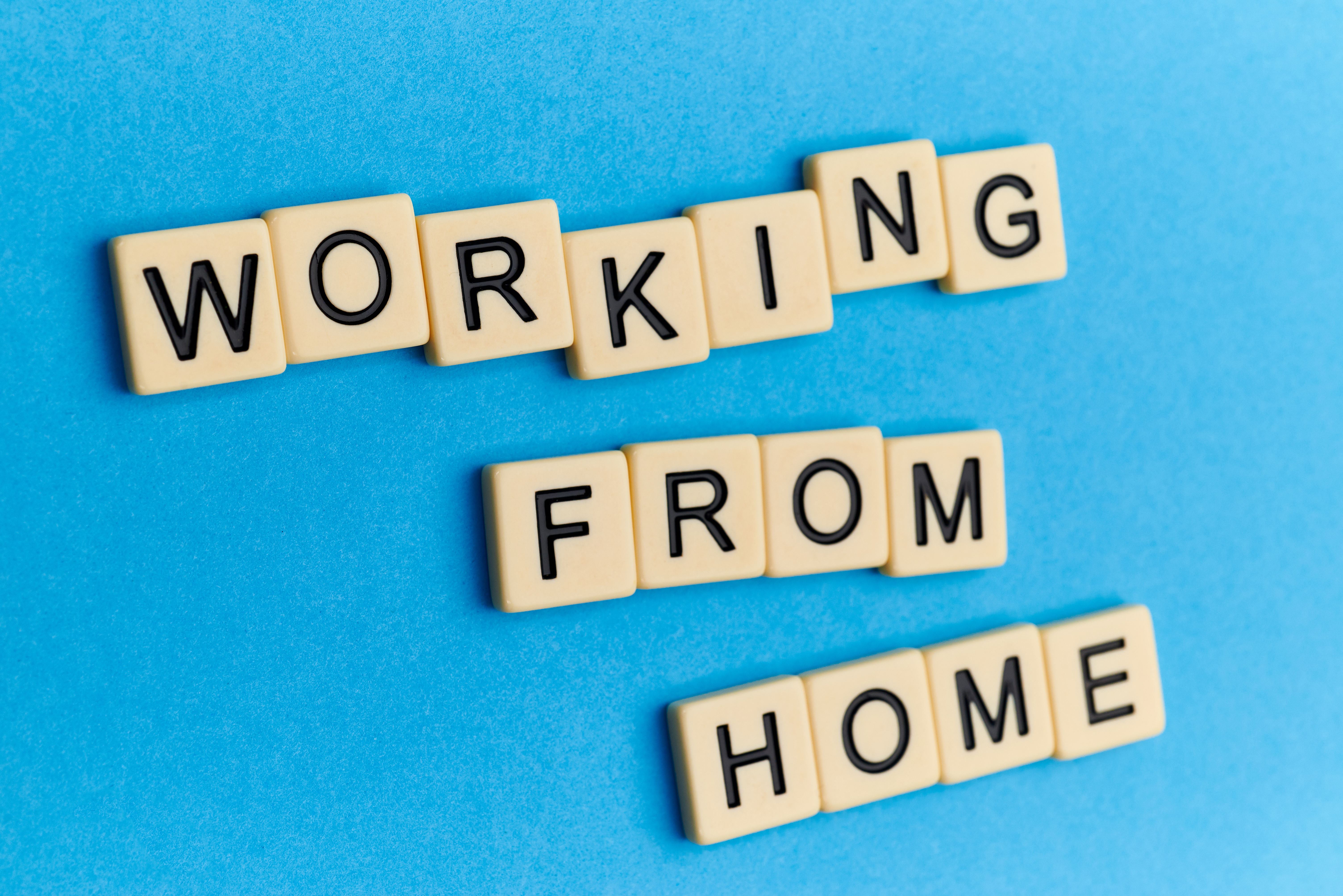 working from home written in scrabble tiles
